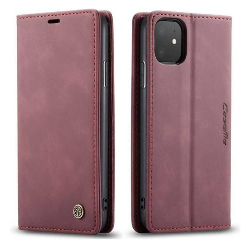 Caseme Retro Wallet Slim Booktype hoesje voor de iPhone 11 - rood (wine red)