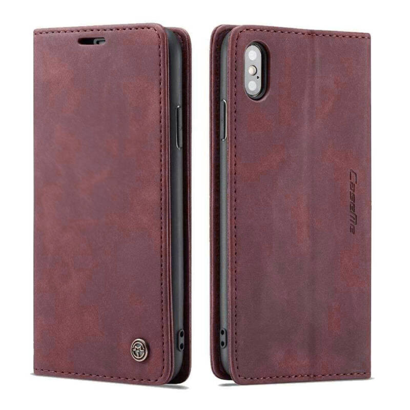 Caseme Retro Wallet Slim Booktype hoesje voor de iPhone Xs Max - rood (wine red)