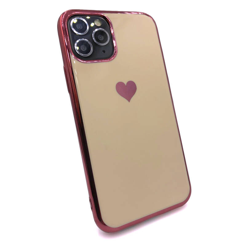 Gold love hoesje voor de iPhone 11 Pro Max - Roze goud