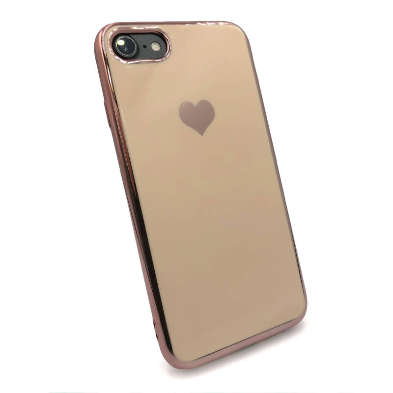 Gold love hoesje voor de iPhone SE (2020) / 8 / 7 - Roze goud