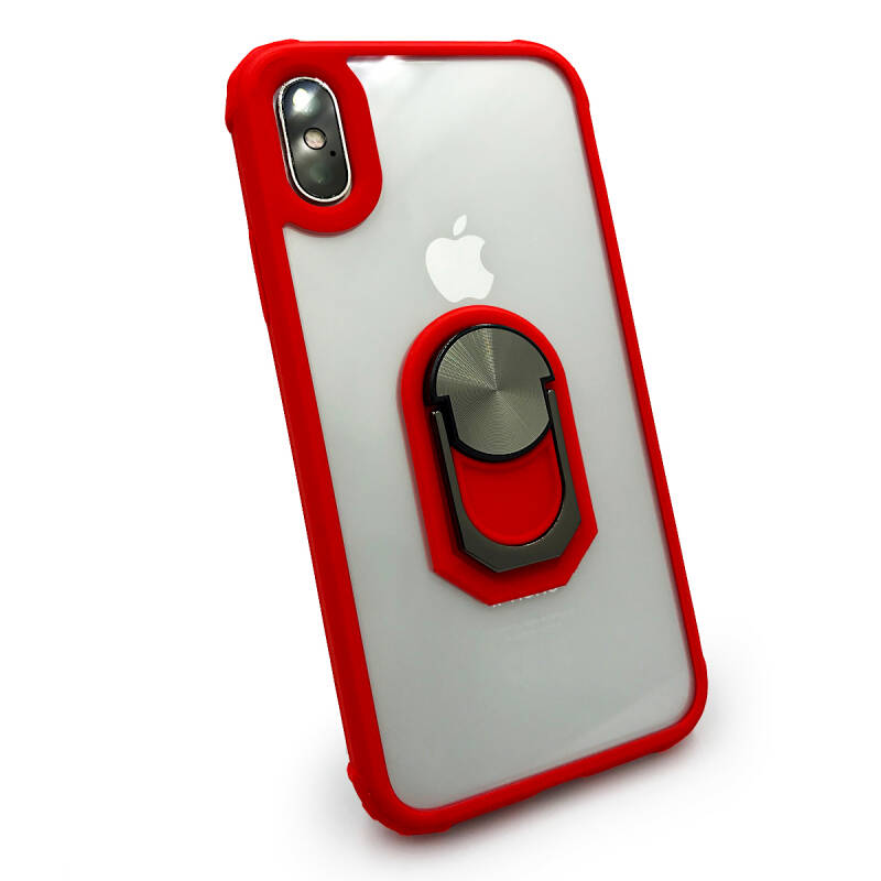 Backcover Ring hoesje voor de iPhone Xs Max - Rood transparant