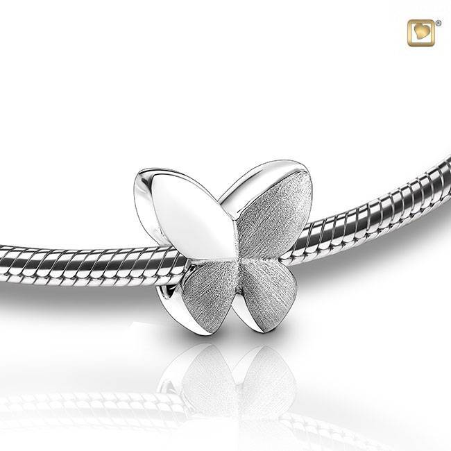 BBF 004 Asbedel bead Butterfly | Vlinder zilver wit