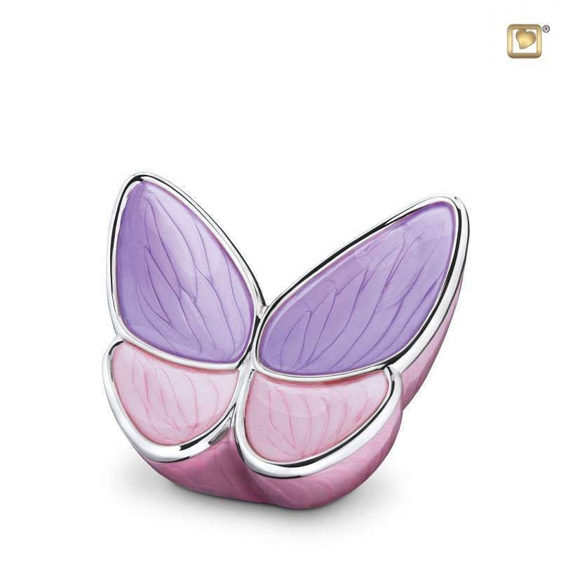 BF 001 S Messing mini urn Butterfly | Vlinder roze