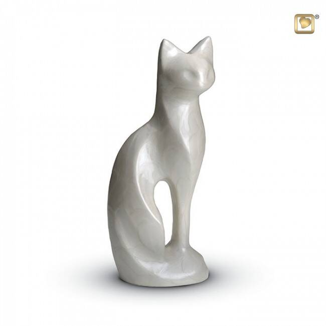 HU 192 Messing dierenurn | Kat wit