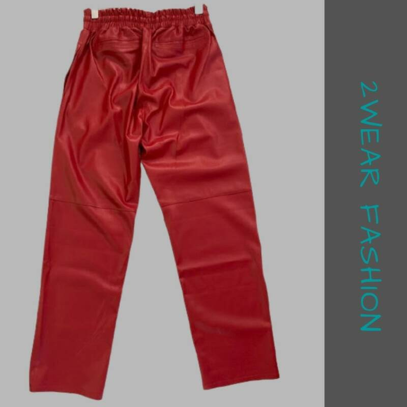 BROEK PU LEATHER ROOD   MARCH EUROPE