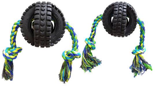 Pet Qwerks Jingle X-Tire Ball with Rope