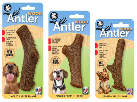 Pet Qwerks Wood Antler Smokked Kaassmaak