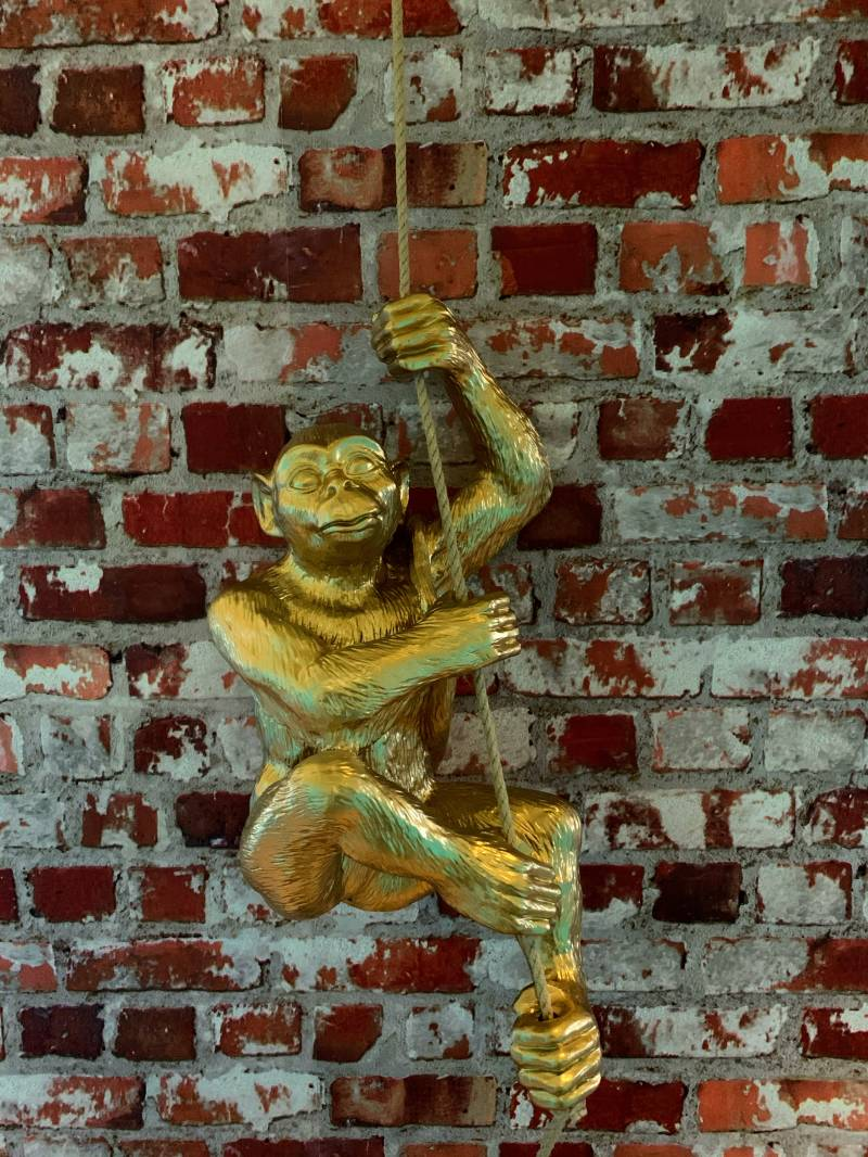 Monkey with rope Hanging Gold