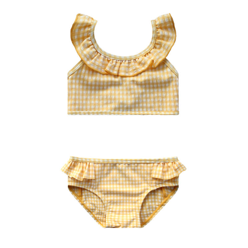 GOLD CHECKS - RUFFLE BIKINI SET