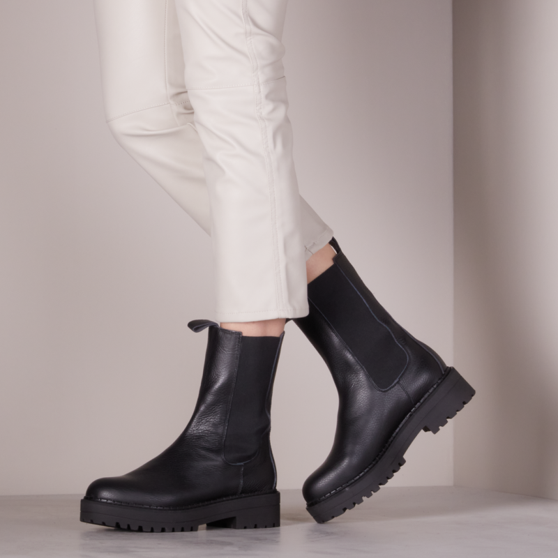 NA-KD Leather Profile Chelsea Boots Black