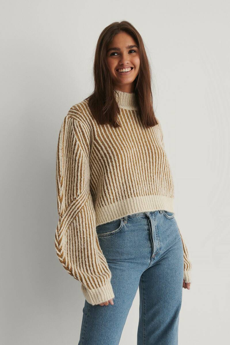 NA KD Sleeve Detail Striped Knitted Sweater
