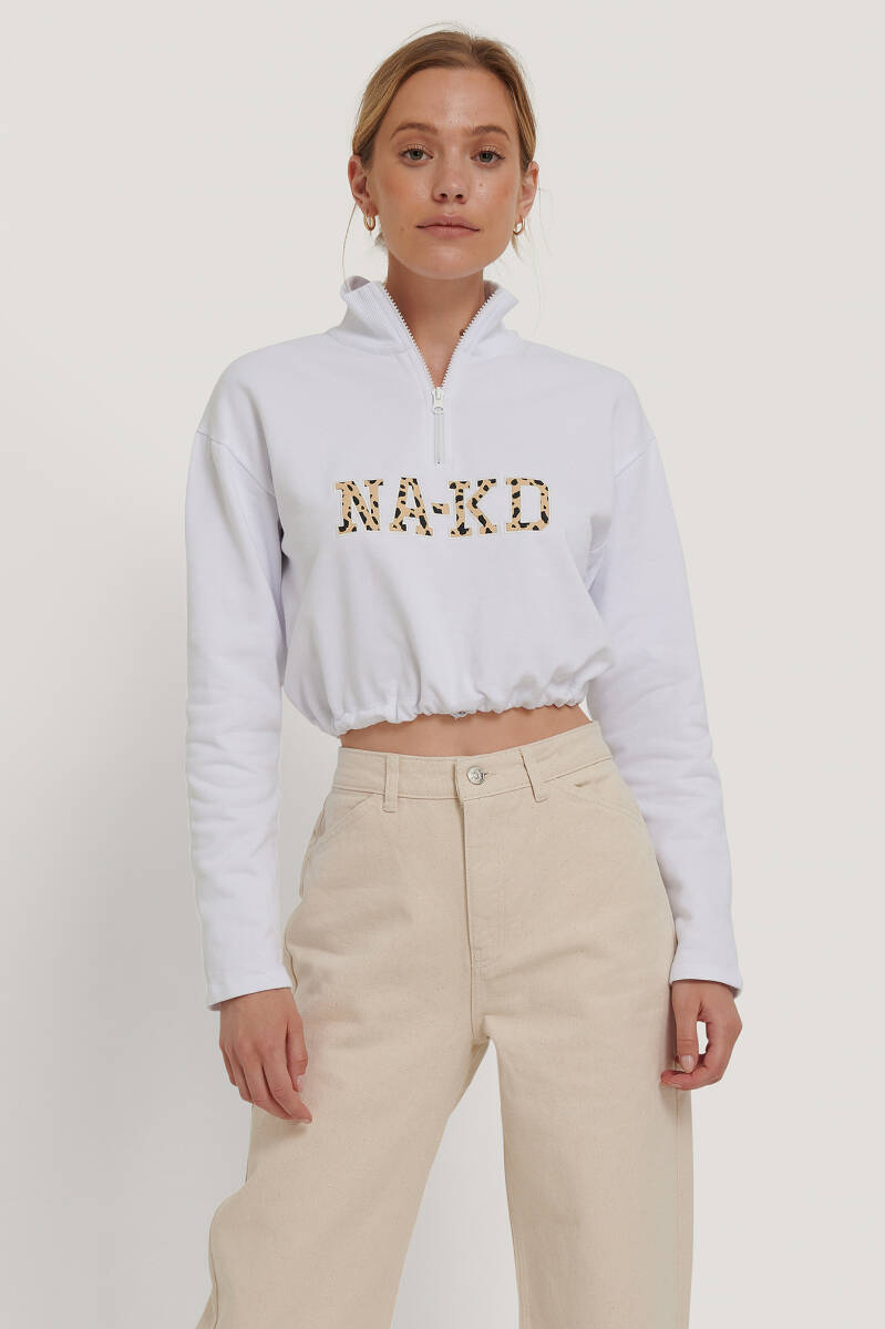 NA-KD Gold-white Cropped  Sweater