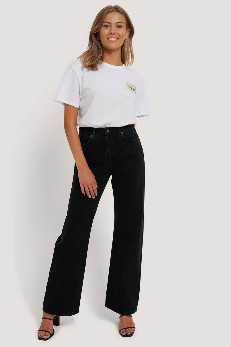 NA-KD Highwaist Relaxed Jeans Washed Black
