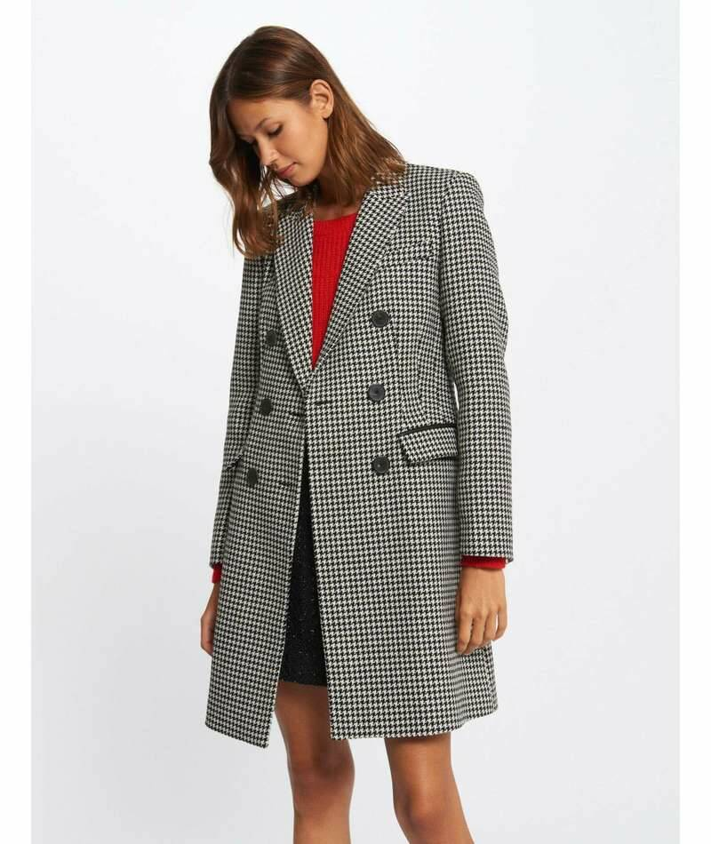 Morgan Straight coat with houndstooth print