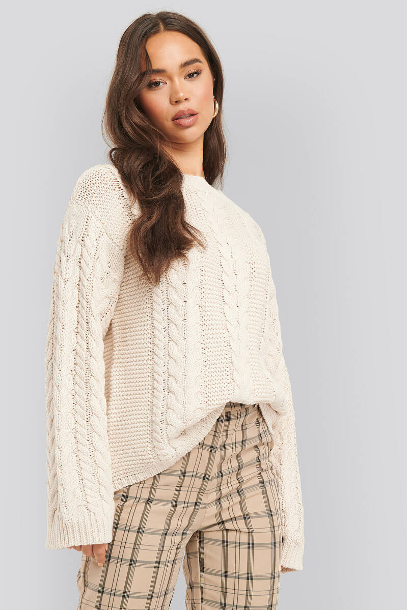 NA-KD Cable Knitted Sweater Box Offwhite