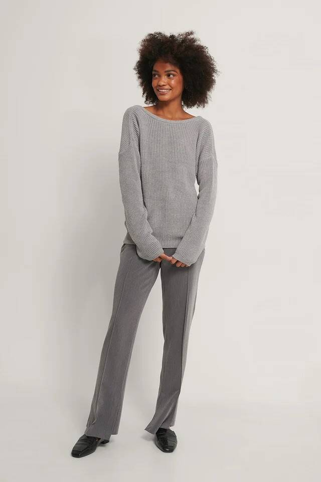 NA-KD Knitted Deep V-Neck Sweater Grey