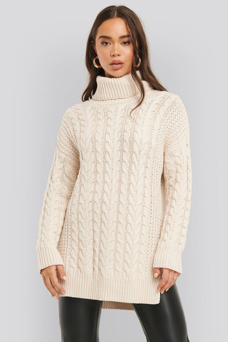 NA-KD Big Polo Neck Cable Knitted Sweater