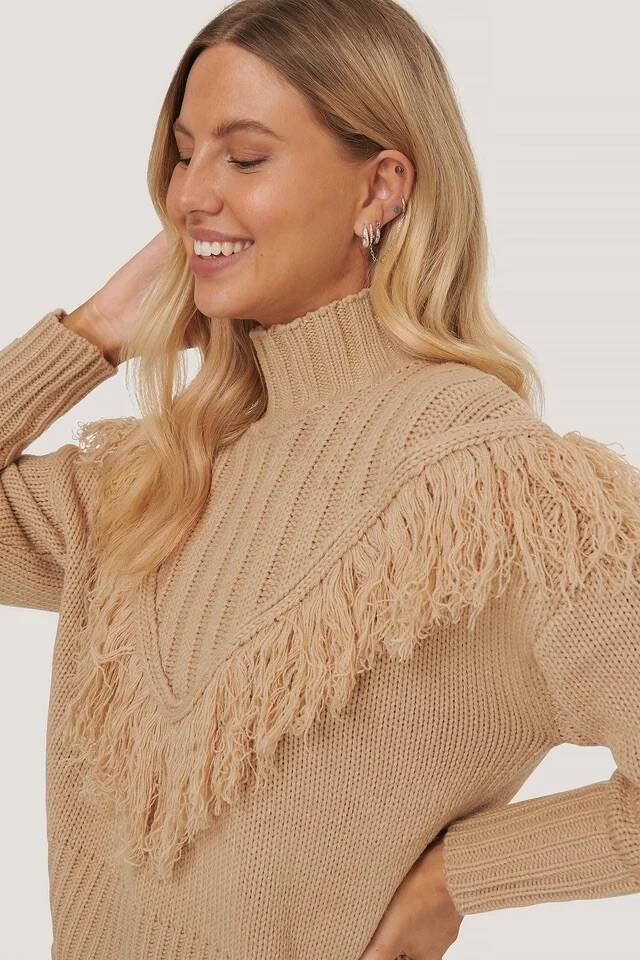 NA KD Fringed Knitted Sweater