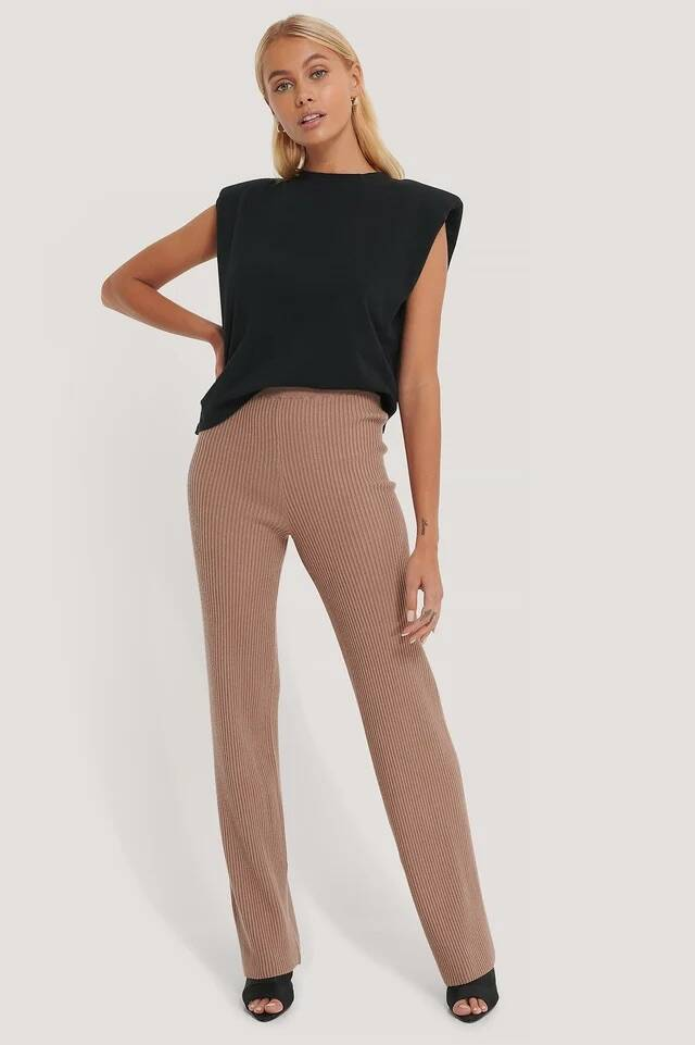 NA-KD Knitted Ripped Pants camel/ brown