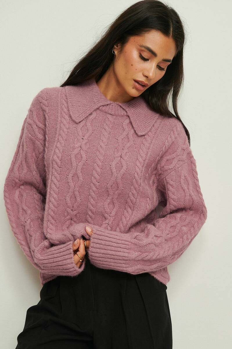 NA-KD Collar Detail Cable Knitted Sweater