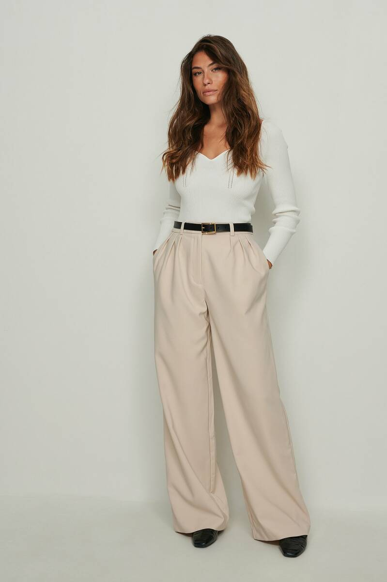 NA-KD Recycled Pleated Wide Leg Suit Pants
