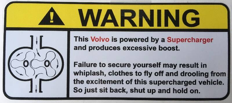 Repro sticker WARNING Supercharger