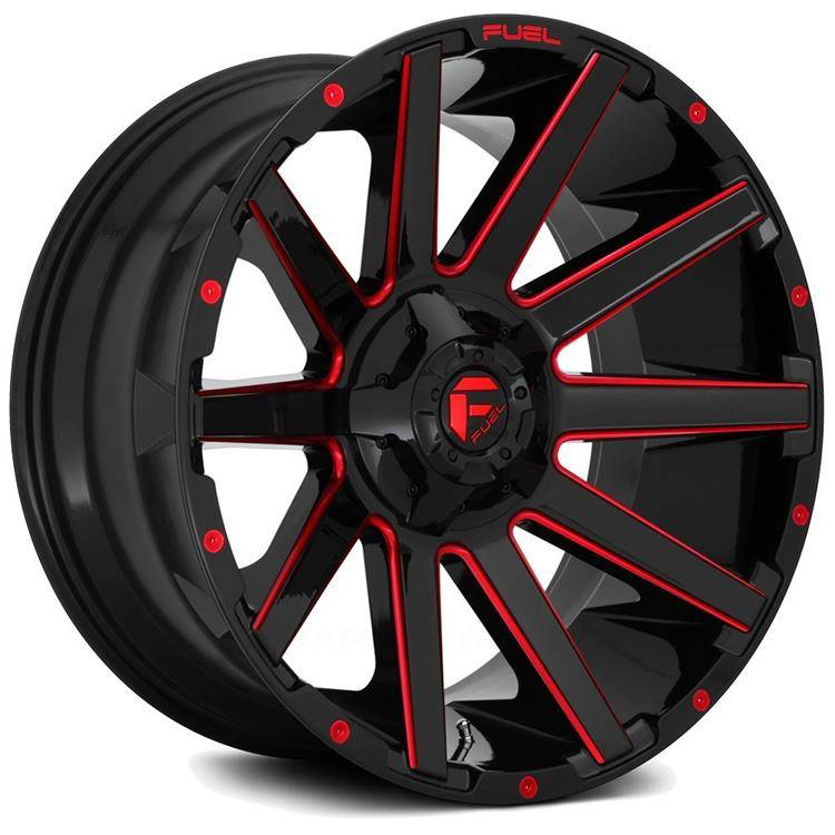 FUEL Lichtmetalen velg D643 Contra Gloss Black / Red Tinted Clear