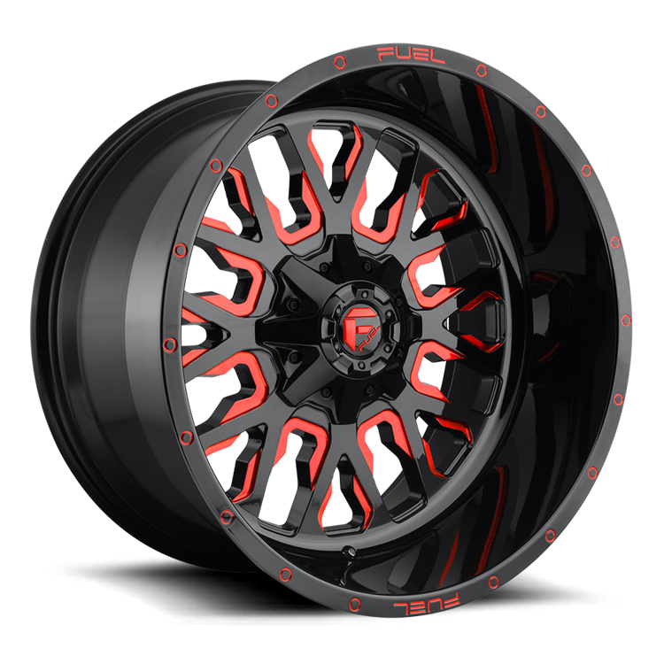 Lichtmetalen velg D612 Stroke Gloss Black / Red Tinted Clear