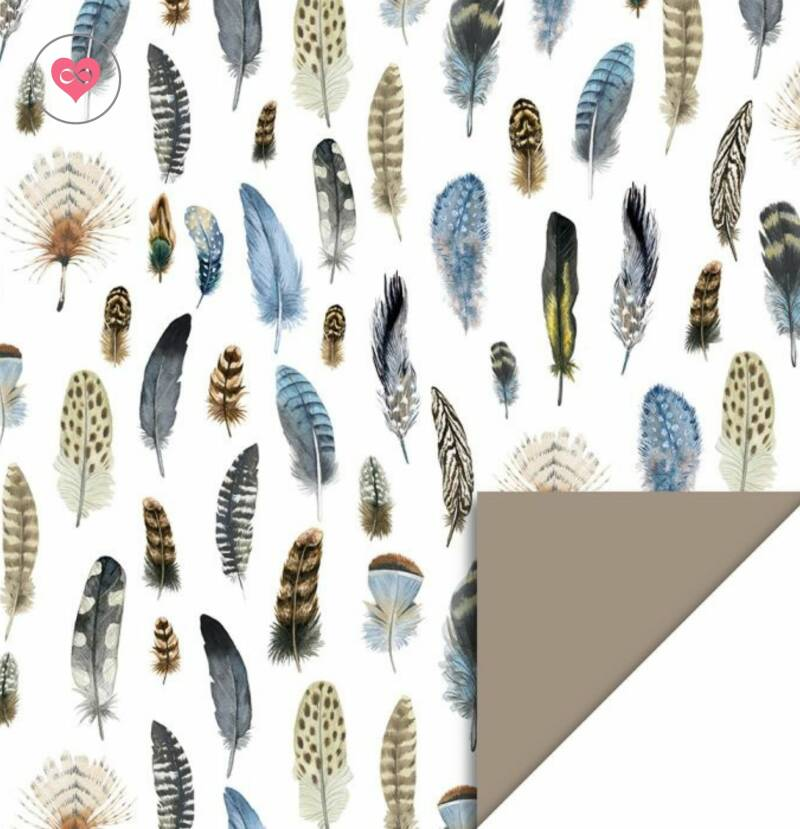 Cadeaupapier | Feathers - Taupe | House of Products | Dubbelzijdig