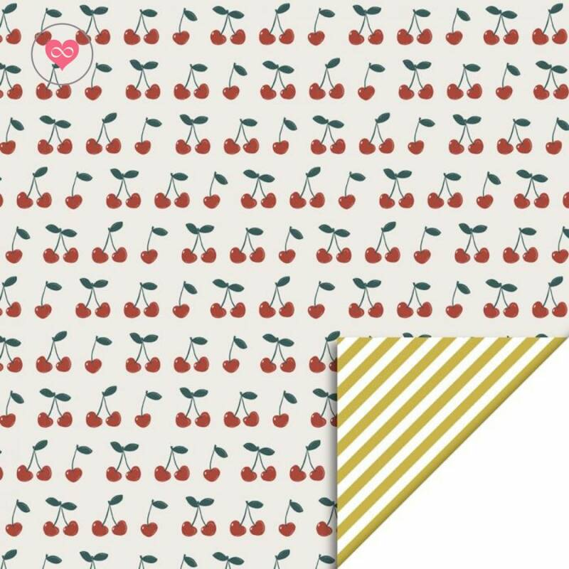Cadeaupapier | Cherry - Stripes Yellow | House of Products | Dubbelzijdig