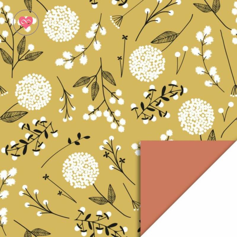 Cadeaupapier   Flowers Big - Yellow / Warm Red   House of Products   Dubbelzijdig