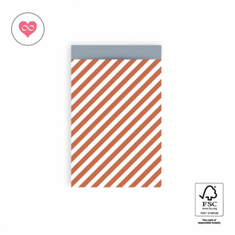 Cadeauzak   Stripe diagonal   Faded red   Ice blue   Set van 6   House of products   HOP