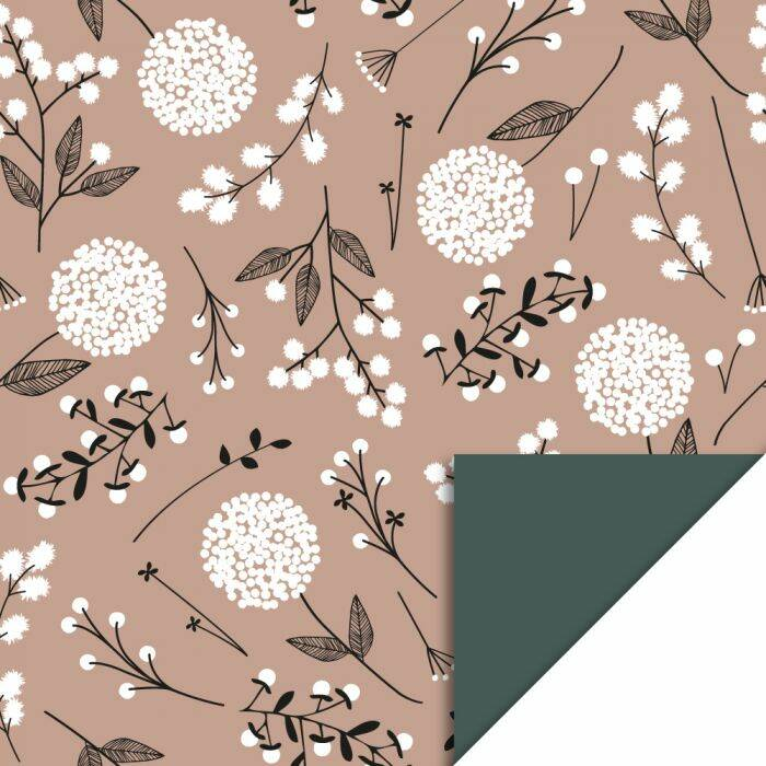 Cadeaupapier | Flowers Big - Pink / Petrol | House of Products | Dubbelzijdig