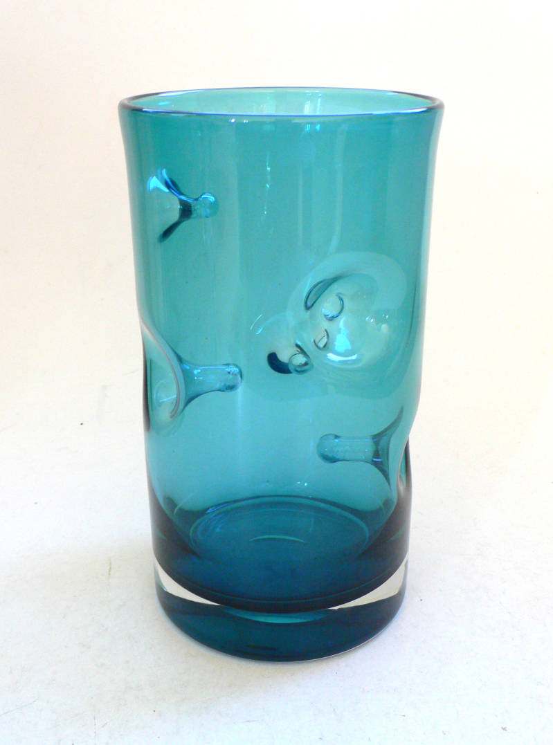 Vintage Art Glass Blue handblown Pinched Nipple Vase 1960's Belgium