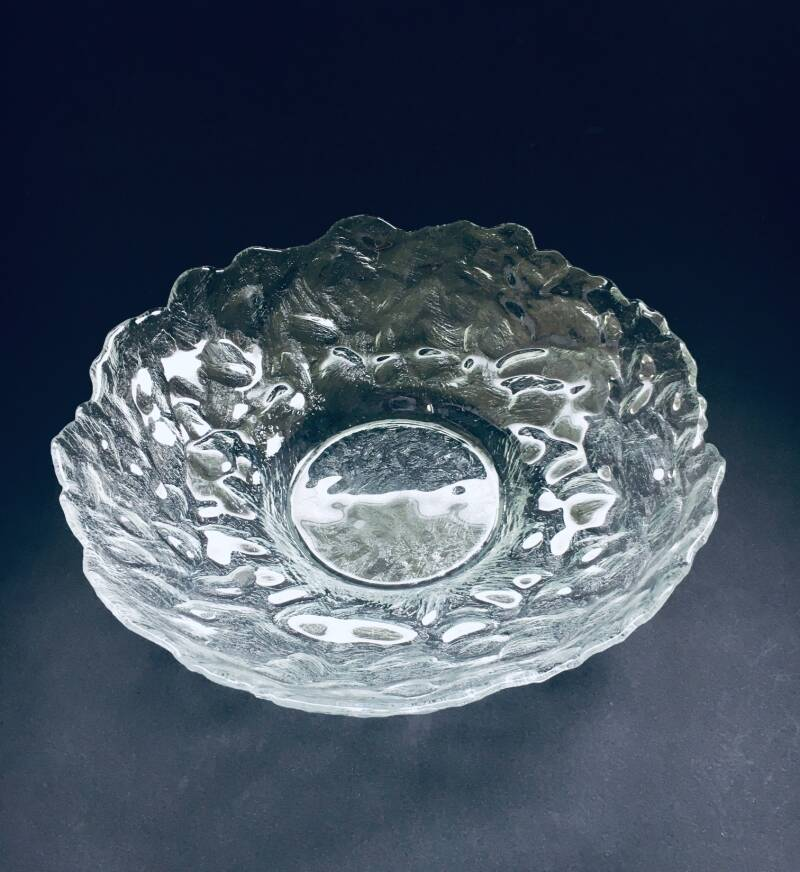 Vintage Scandinavian Design Ice Glass Large Fruit Bowl 1970's Pukeberg Sweden