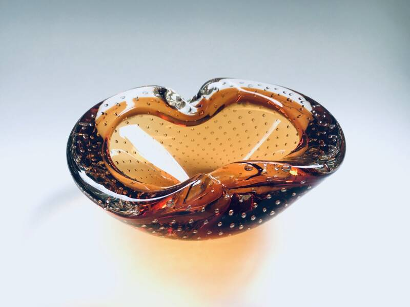 Vintage Murano large Amber Air Bubble Glass Bowl, 1960's Italy