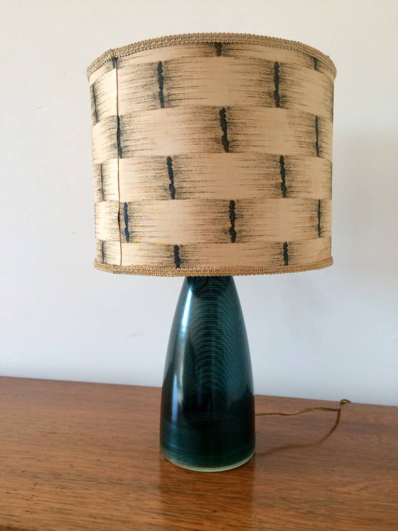 Scandinavian Design 1960's Striped Glass Table Lamp