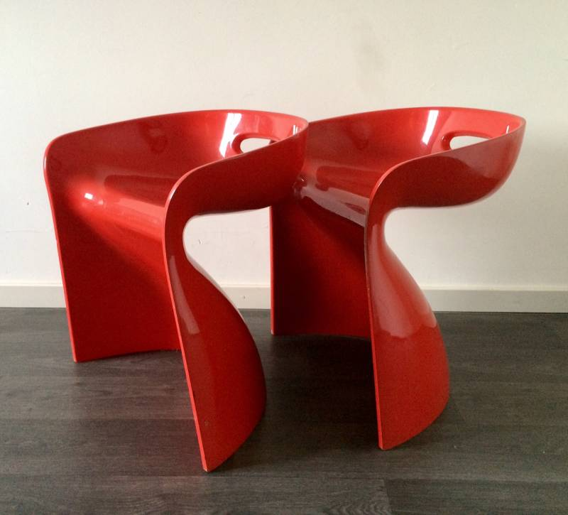 Pair of vintage Winifred Staeb Design TOP-SIT Chair Red 1969
