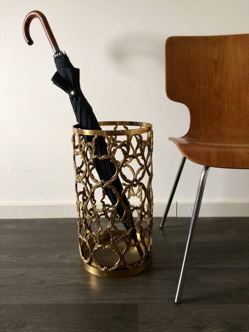 1960's French Empire Hollywood Regency Design Brass Umbrella Stand