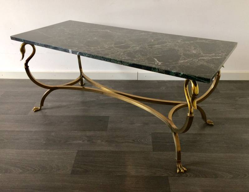 1960's French Empire Hollywood Regency Design Swan Brass & Marble Coffee Table