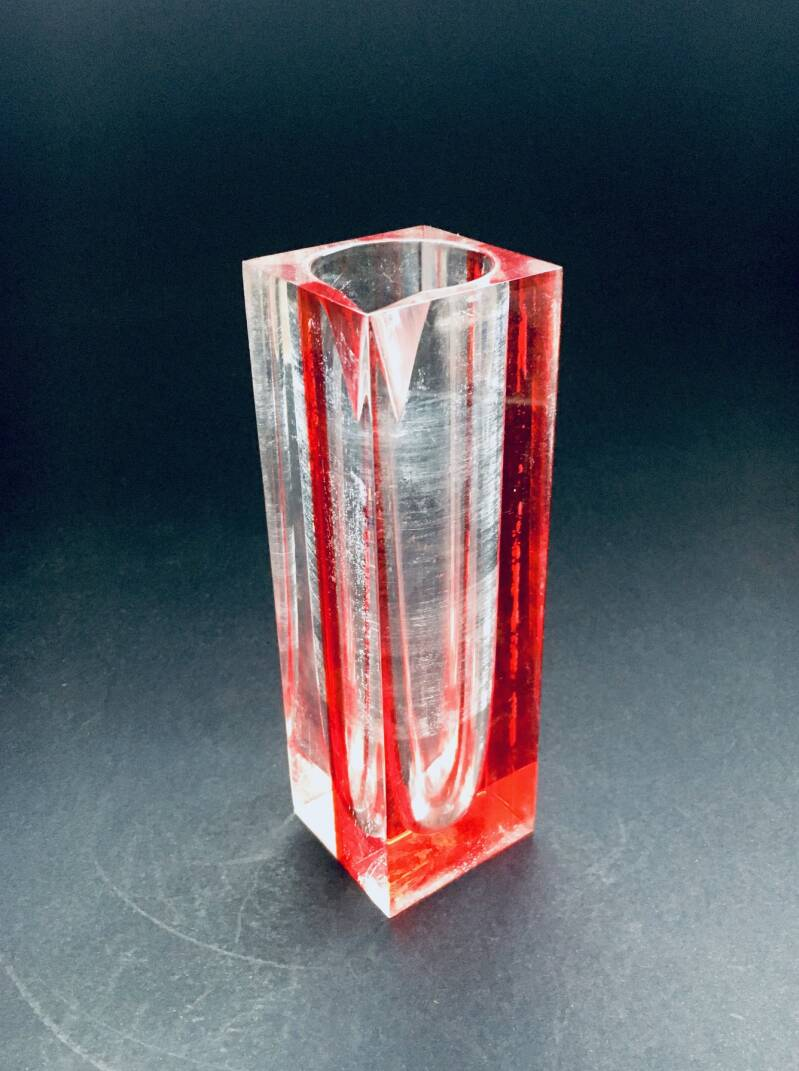 Postmodern Design Plexi Glass 2 color Vase 1980's