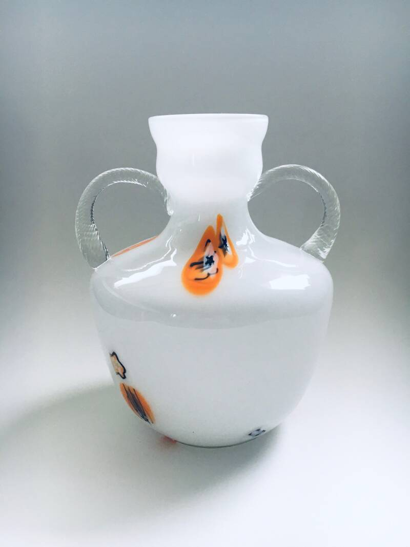 White Murano Art Glass Vase 1960's Italy