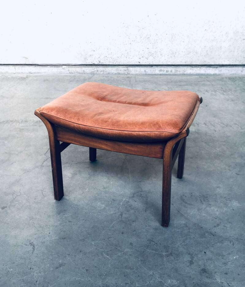1970's Scandinavian Design Leather Stool Piano Seat