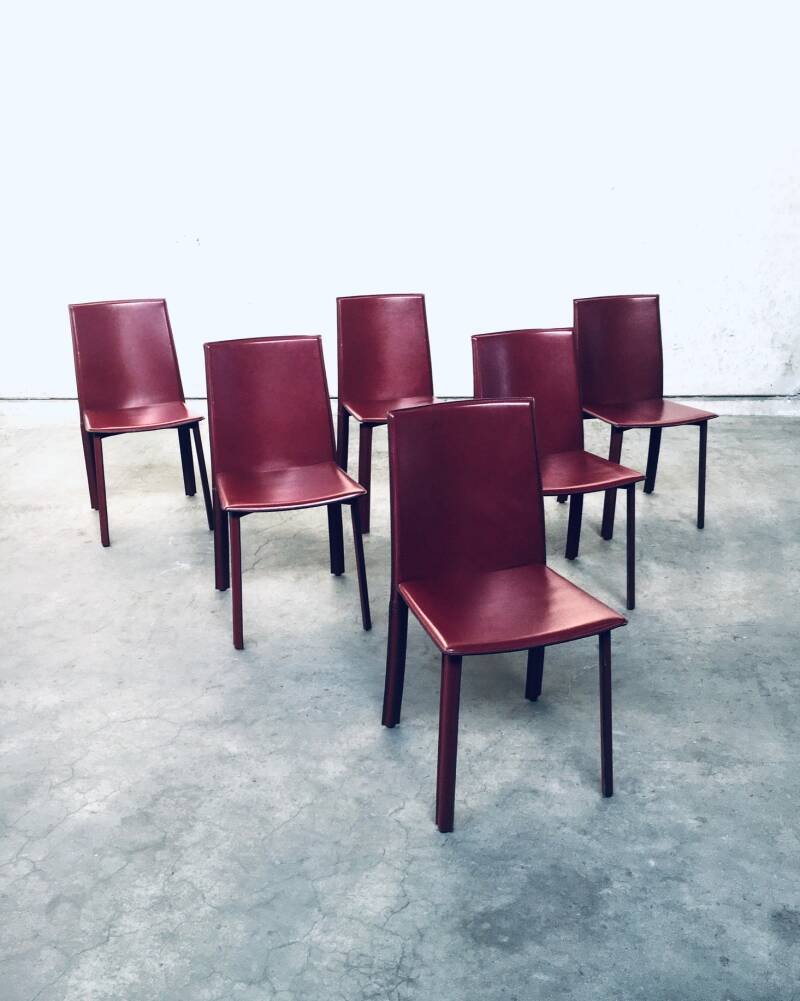1980's Italian Design set of 6 Leather covered Dining Chairs