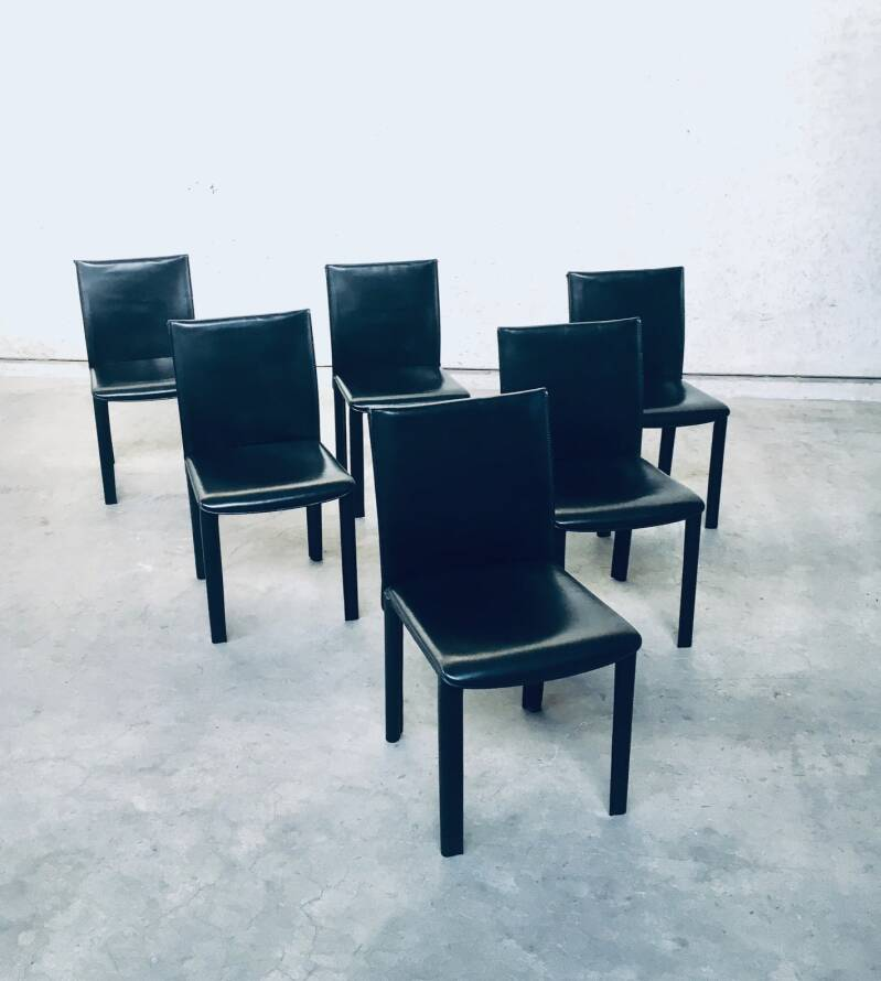 Set of 6 Arper Design Black Leather Dining Chairs, Italy 1980's