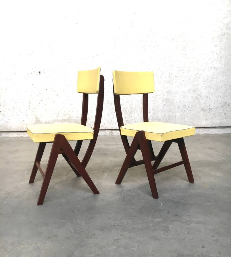 Vintage 1950's French Design Set of 2 Kitchen Chairs