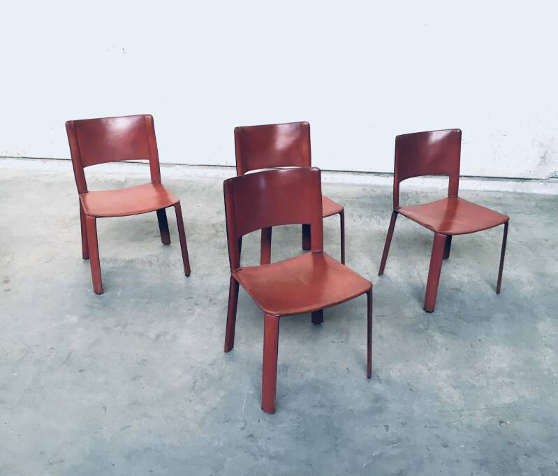 Italian Design Saddle Leather covered set of 4 Dining Chairs 1970's Italy