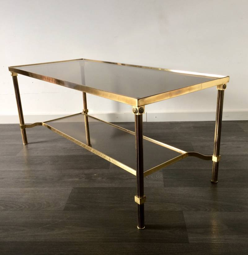 Midcentury Design French Empire Smoke Glass & Brass Coffee Table 1960's