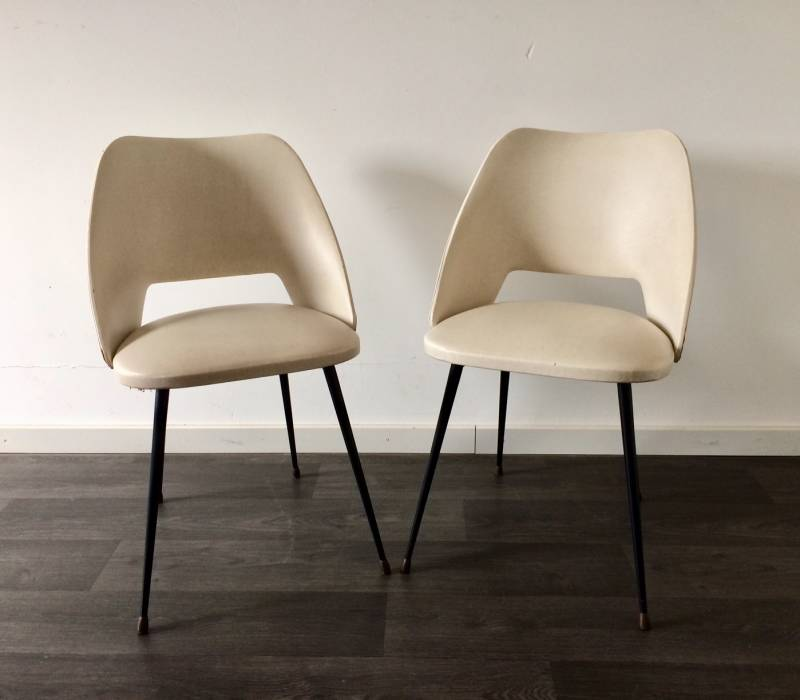Midcentury 1950's French Design Skai Leather Chair Set of 2