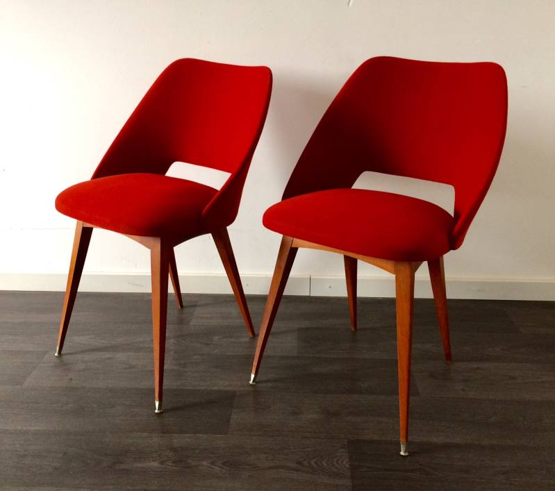 Vintage 1950's Midcentury French Design Red Felt Fabric Covered Chair set of 2